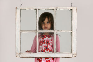 Girl in Window Frame